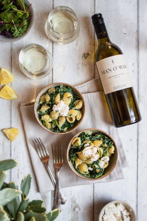 RECIPE & PAIRING: Spinach & ricotta conchiglie with Man O' War Sauvignon Blanc