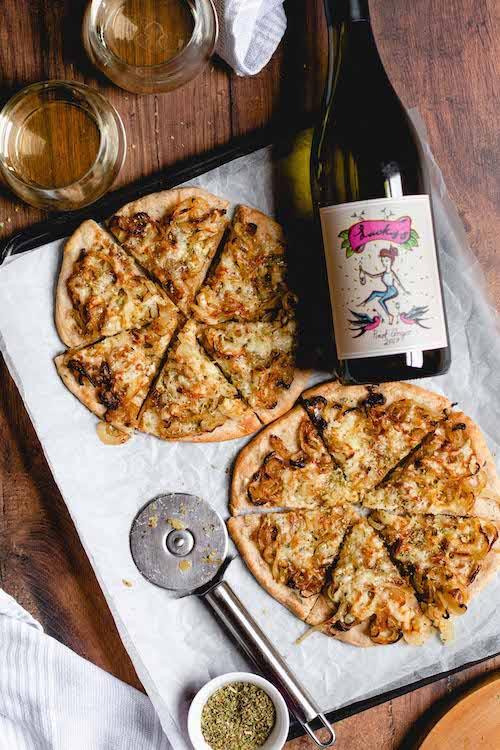 RECIPE & PAIRING: Fugazza pizza (cheese and onion, no tomato) with Lucky's Pinot Grigio
