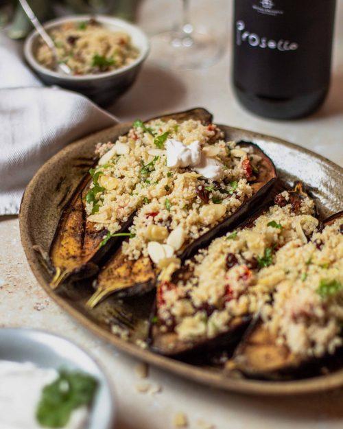 RECIPE & PAIRING: Harissa aubergine boats with quinoa, sun-dried tomatoes, parsley and 47 AD organic Prosecco