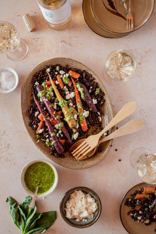 RECIPE & PAIRING: Roasted rainbow carrot & lentil salad with feta and pesto dressing, and LIV Vinho Verde