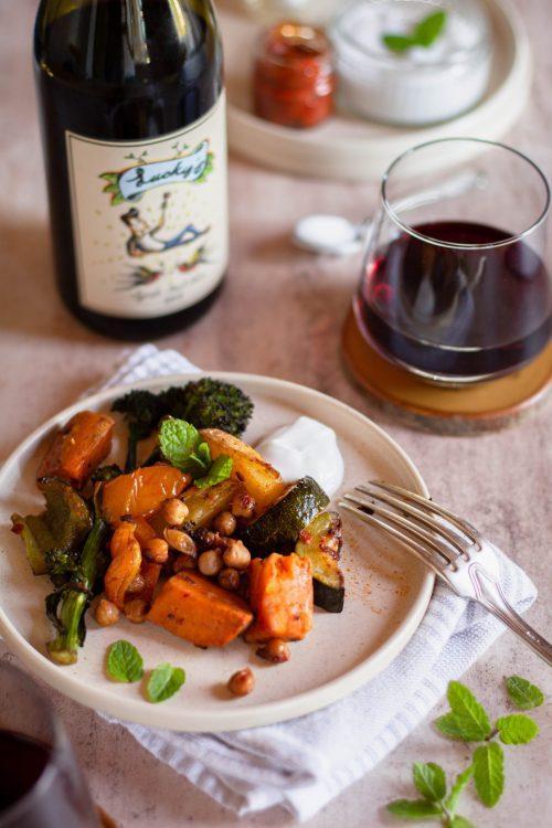 RECIPE & PAIRING: Harissa Vegetable Traybake paired with Lucky's Syrah-Pinot Noir